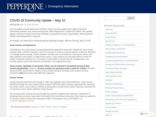 Pepperdine Emergency Information