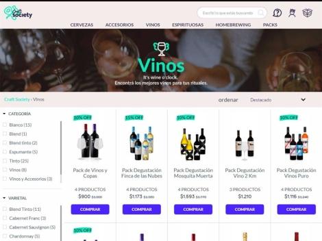 Tienda online de Delivery de Bebidas Online: Craft Society